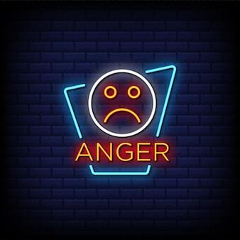Texto de estilo de letreros de neón de ira