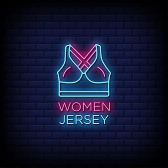 Texto de estilo de letreros de neón de jersey de mujer