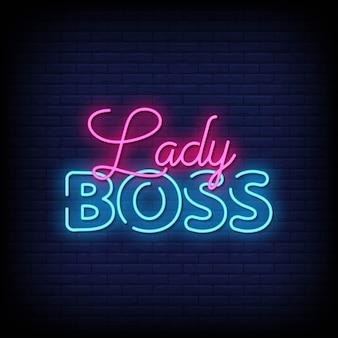Texto de estilo de letreros de neón de lady boss