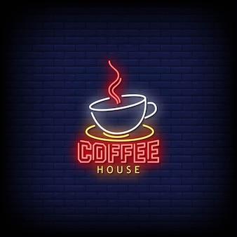 Texto de estilo de letreros de neón del logotipo de la casa de café