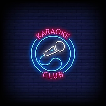 Texto de estilo de letreros de neón del logotipo del club de karaoke