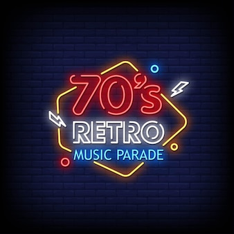 Texto de estilo de letreros de neón con logotipo de desfile de música retro de los años 70