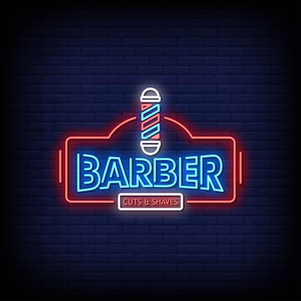 Texto de estilo de letreros de neón del logotipo del peluquero