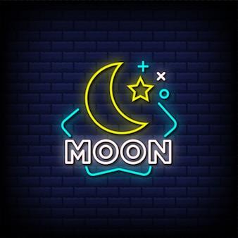 Texto de estilo de letreros de neón de luna