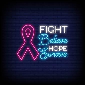 Texto de estilo de letreros de neón del mes de concientización sobre el cáncer de mama