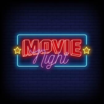 Texto de estilo de letreros de neón de noche de cine