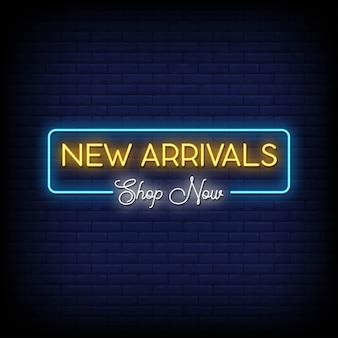 Texto de estilo de letreros de neón de nuevas llegadas