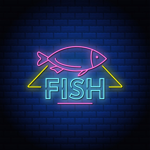 Texto de estilo de letreros de neón de peces con pared de ladrillos azules