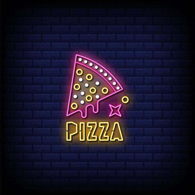 Texto de estilo de letreros de neón de pizza