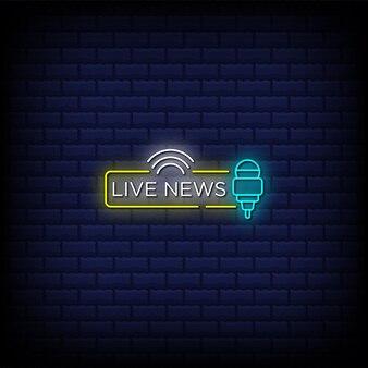 Texto de estilo de letreros de neón de tipografía de noticias en vivo
