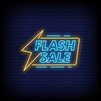 Texto de estilo de letreros de neón de venta flash