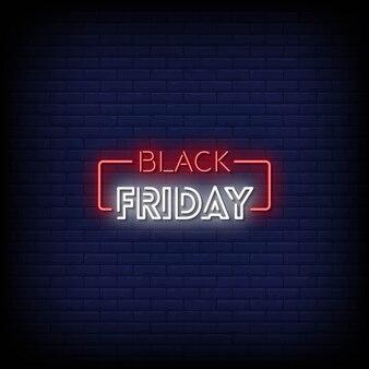Texto de estilo de letreros de neón de viernes negro