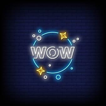 Texto de estilo de letreros de neón wow