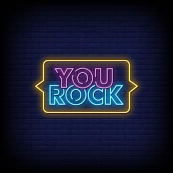 Texto de estilo de letreros de neón de you rock