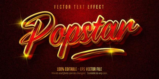 Texto de estrella del pop, efecto de texto editable de estilo dorado brillante