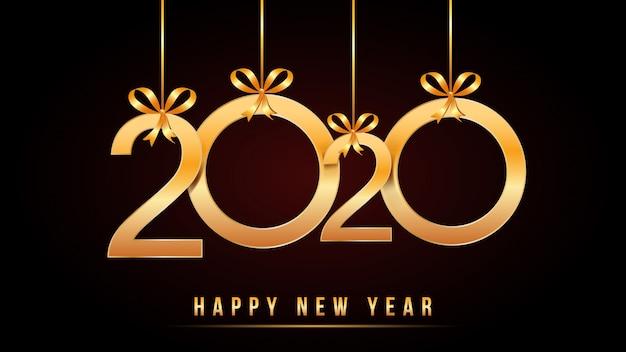 Texto de feliz año nuevo de 2020 con números dorados con números de oro y arcos de cinta colgantes aislados en negro