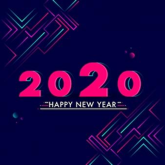 Texto de feliz año nuevo 2020 sobre fondo azul abstracto.