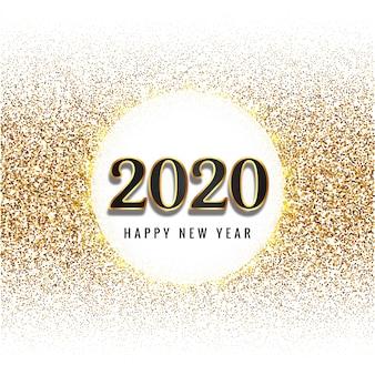 Texto de feliz año nuevo 2020 para tarjeta de celebración de brillos