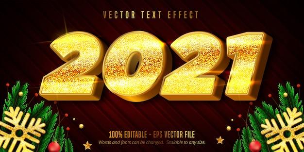Texto de feliz año nuevo 2021, efecto de texto editable de estilo navideño dorado brillante