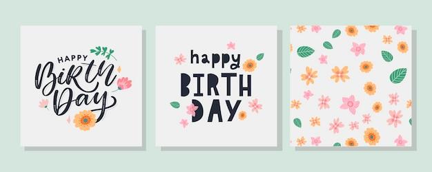 Texto de feliz cumpleaños con flores, carta, banner de vacaciones, tarjeta, celebración