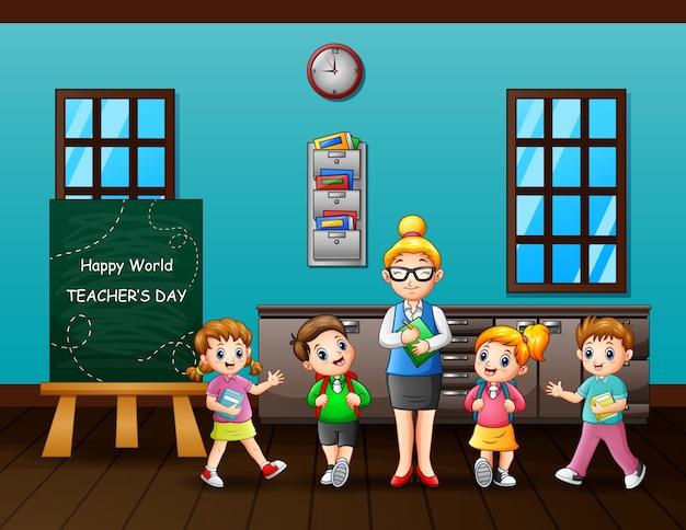 Texto de feliz día del maestro en pizarra con maestro y estudiantes