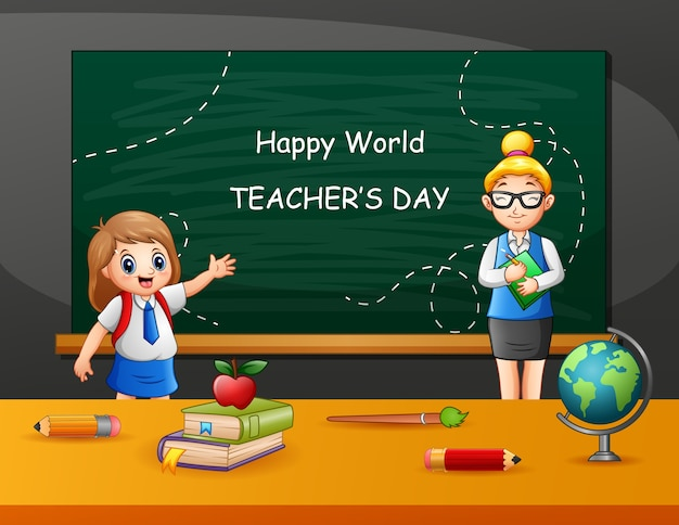 Texto de feliz día del maestro en pizarra con niños y maestro