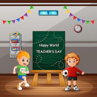 Texto feliz día del maestro en pizarra con niños