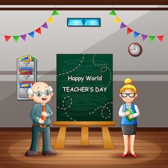 Texto de feliz día mundial del maestro en pizarra con maestros