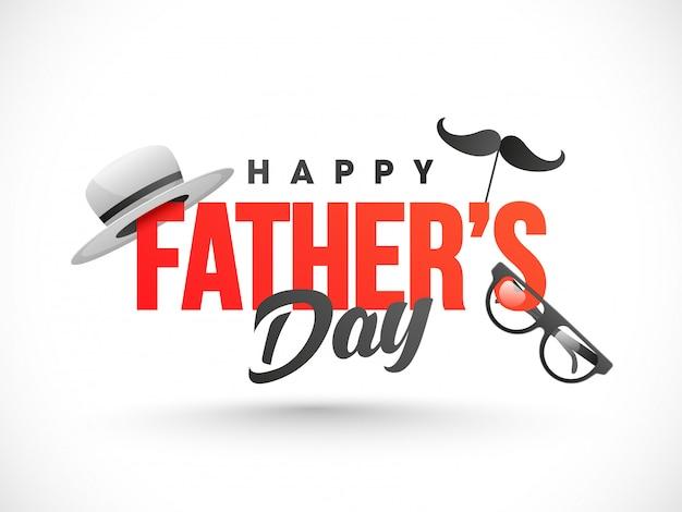 Texto feliz del día de padre adornado con el sombrero