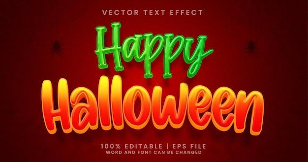Texto de feliz halloween, estilo de efecto de texto editable de dibujos animados de terror
