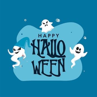 Texto de feliz halloween con grupo fantasma de dibujos animados sobre fondo azul.