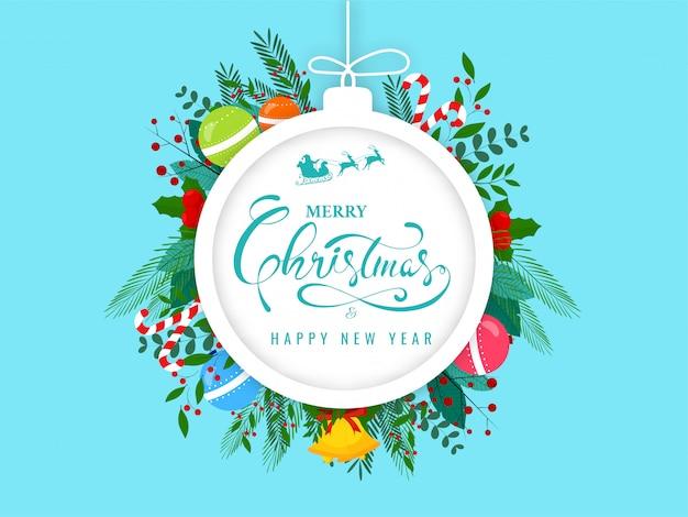 Texto de feliz navidad y feliz año nuevo en el marco de forma de adorno decorado con cascabel, bolas, bastón de caramelo, baya de acebo, hojas y rama de baya sobre fondo azul.
