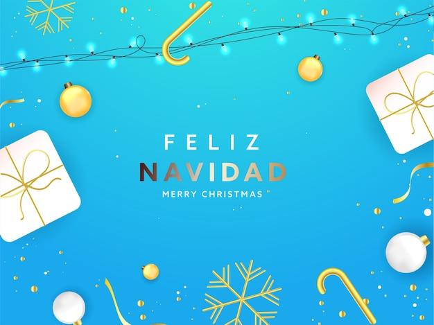 Texto de feliz navidad en idioma español con cajas de regalo de vista superior