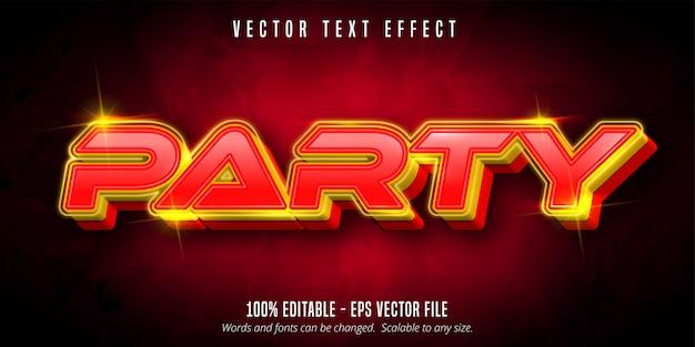 Texto de fiesta, efecto de texto editable estilo neón