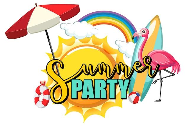 Texto de fiesta de verano con flamencos y artículos de playa aislados