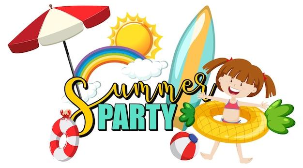 Texto de fiesta de verano con un personaje de dibujos animados de niña y artículos de playa aislados