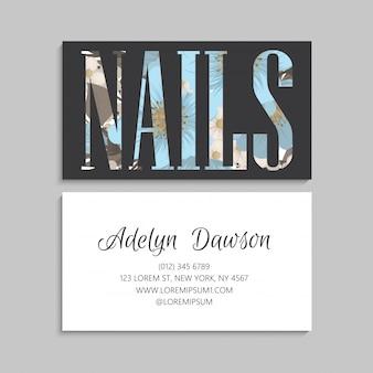 Texto floral de las uñas, plantilla de la tarjeta de visita