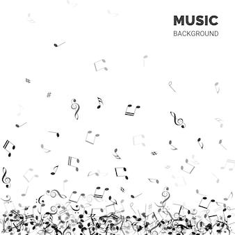 Texto de fondo de música con notas que caen