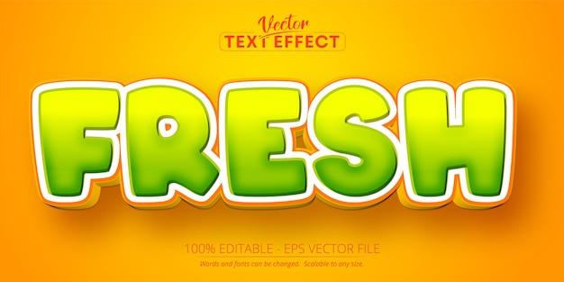 Texto fresco, efecto de texto editable de estilo de dibujos animados