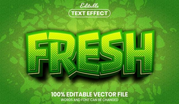 Texto fresco, efecto de texto editable de estilo de fuente