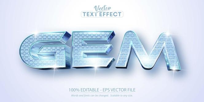 Texto de gema, efecto de texto editable de estilo con textura de diamante brillante
