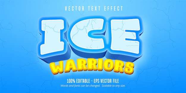 Texto de guerreros de hielo, efecto de texto editable de estilo de juego de dibujos animados