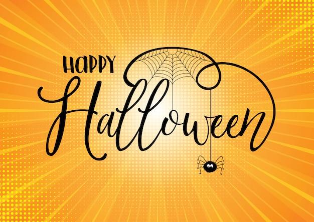 Texto de halloween sobre fondo starburst