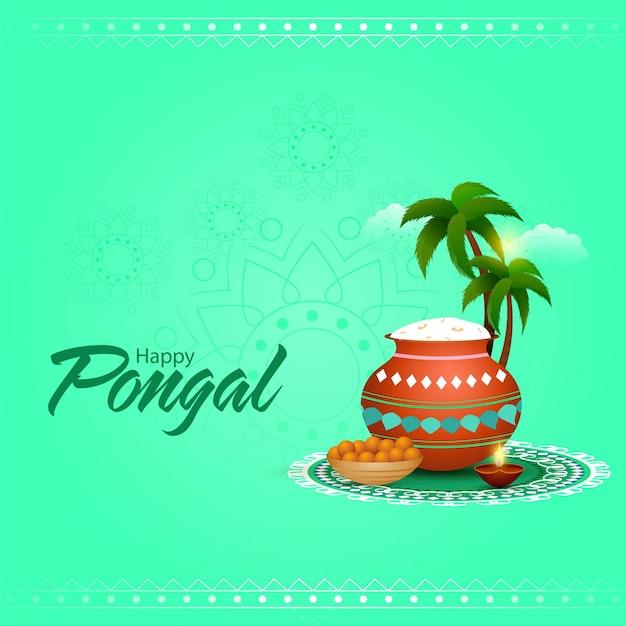 Texto de happy pongal con olla de barro de arroz, cuenco dulce (laddu)