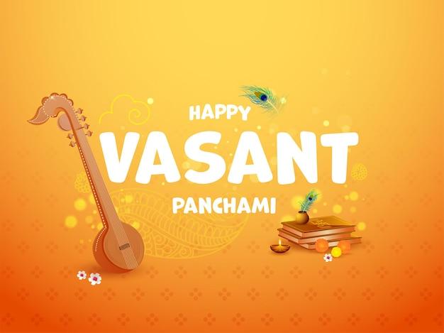 Texto hapy vasant panchami con instrumento veena, libros sagrados, flores, lámpara de aceite encendida