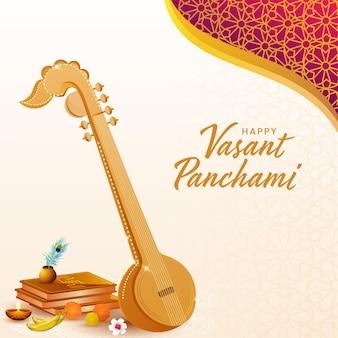 Texto en hindi los mejores deseos de vasant panchami con el instrumento veena y la ofrenda religiosa