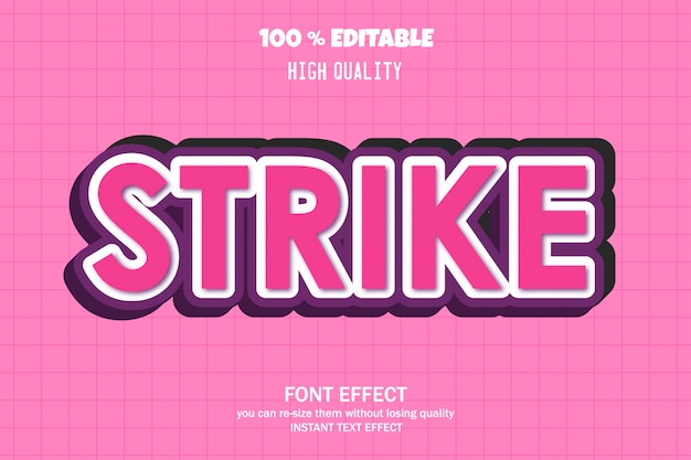 Texto de huelga, efecto de fuente editable