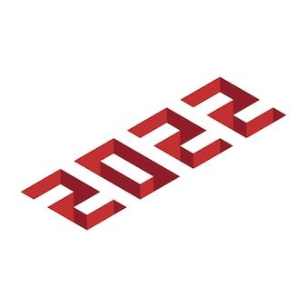 Texto isométrico 2022 para banner de año nuevo y navidad