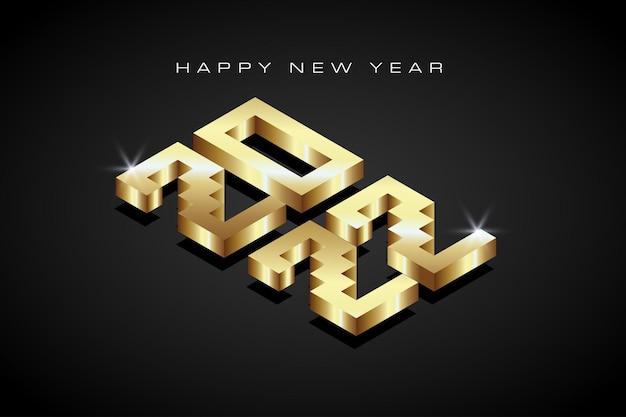 Texto isométrico de oro 2022. feliz año nuevo 2022. adecuado para saludo, invitaciones, banner o diseño de fondo de 2022. ilustración de diseño vectorial