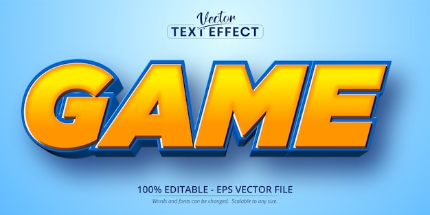 Texto del juego, efecto de texto editable de estilo de dibujos animados